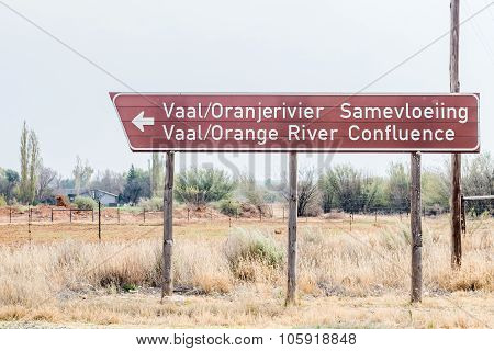 Sign To Confluence Of Gariep (orange) And Vaal Rivers