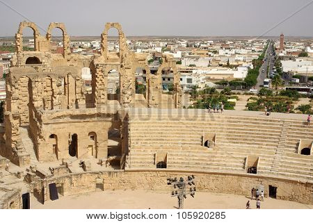Tunisia, Africa - August 03, 2012: Coliseum In El-jem In Summer Day