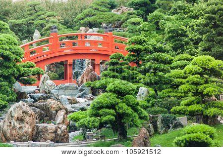 The Red Bridge In Nan Lian Garden.