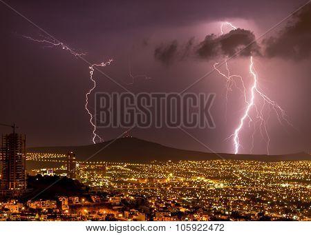 Lightening strikes on the City of Queretaro Mexico.