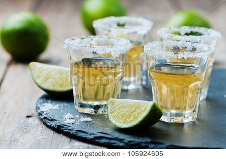 Gold Tequila With Lime And Salt