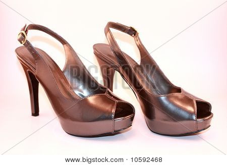 Womens High Heeled Silver Platform Shoes
