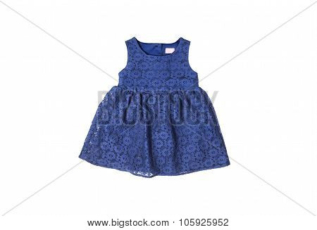 beautiful elegant dark blue guipure lace baby dress isolated on white background