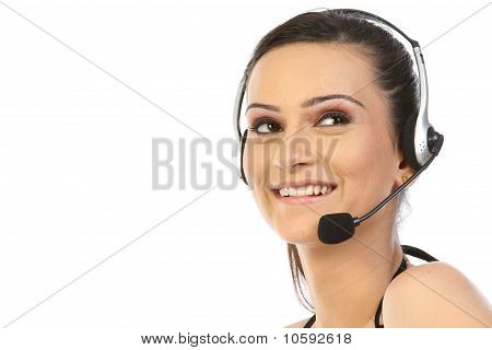 Beautiful woman with a headset