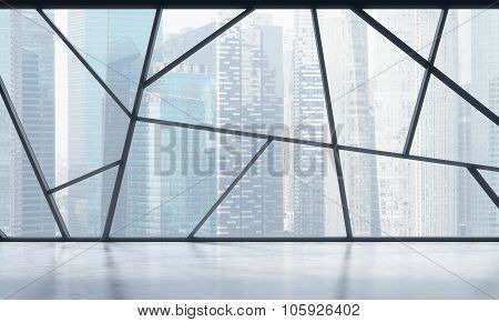 A Bright Contemporary Panoramic Empty Office Space With Singapore View. The Concept Of Highly Profes