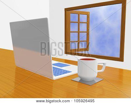 Laptop Coffee Mug In Front Of Open Window