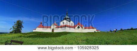 UNESCO church of St. John of Nepomuk on Zelena Hora (Green mountain) nearby city Zdar nad Sazavou in Czech republic poster
