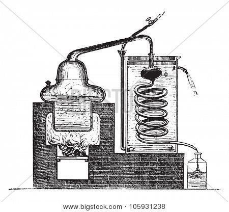 Distilling Apparatus, vintage engraved illustration.