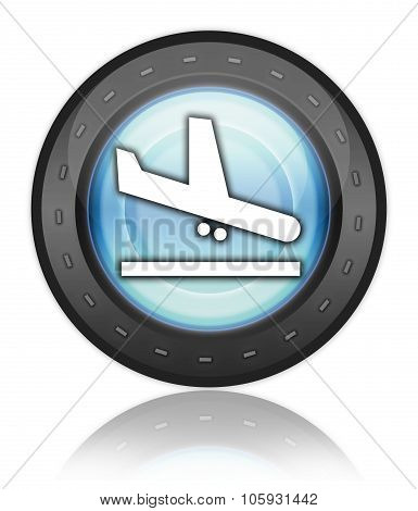 Icon Button Pictogram with Airport Arrivals symbol poster