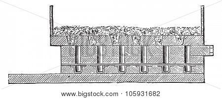 Loading hopper, vintage engraved illustration. Industrial encyclopedia E.-O. Lami - 1875.
