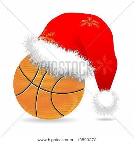 Santa Cap Over Basketball