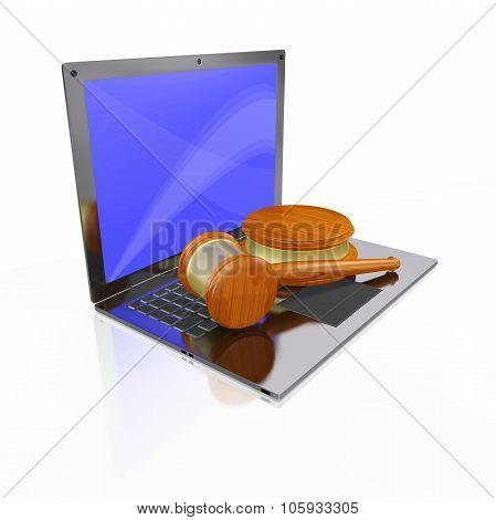 Laptop Judge Gavel Mallet