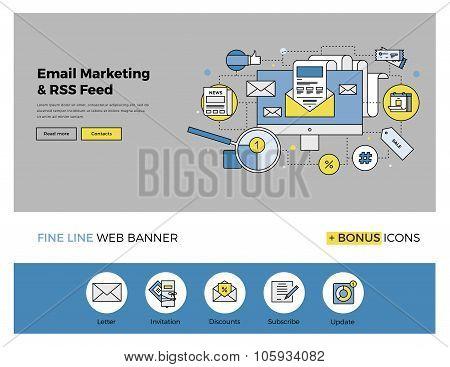 E-mail Marketing Flat Line Banner
