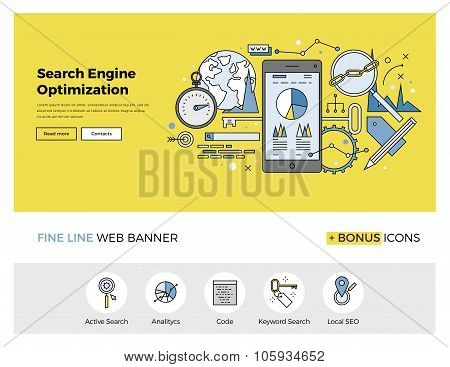Search Engine Optimization Flat Line Banner