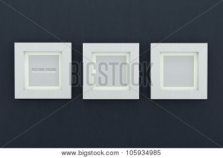 Square white wooden picture frames