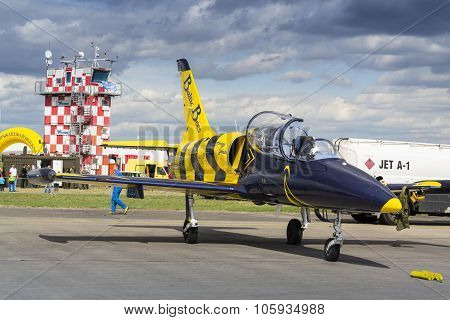 Baltic Bees Jet Team With Aero L-39 Albatros Planes Standing On A Runway