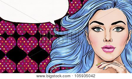 Pop Art illustration of girl with the speech bubble.Pop Art girl. Party invitation. Birthday greetin