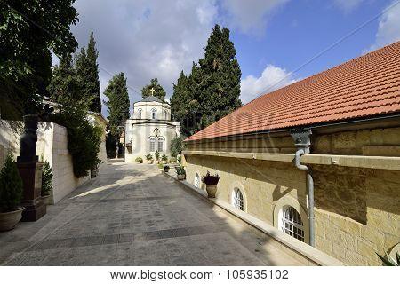 Buildings of Gorny Russian Orthodox convent in Ein Kerem near Jerusalem in Israel. poster