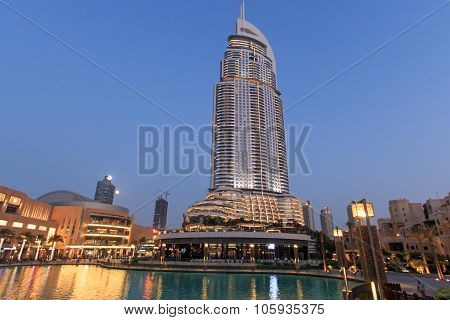 Dubai, Uae - October 07, 2014: The Night View On Dubai Mall. It Is The World's Largest Shopping Mall