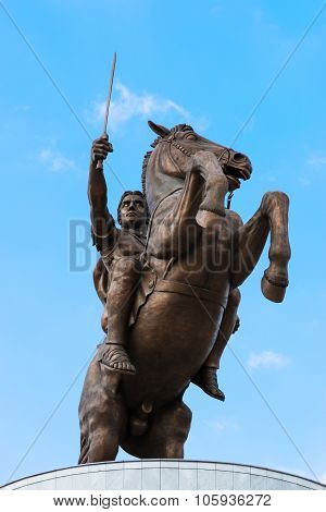 Skopje, Macedonia - April 3 2014: Monument Of Alexander The Great