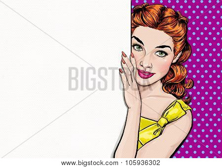 Beautiful girl looking from the empty board in Pop art style.Pop Art girl.Party invitation.