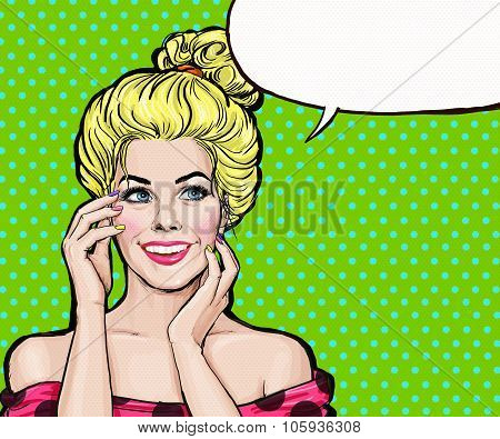 Smiling blonde girl in Pop Art style.Pop Art girl. Party invitation. Birthday greeting card.
