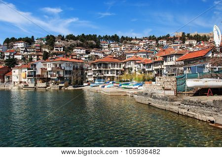 Ohrid, Macedonia - April 2 2014: Ohrid lake and old town viewed from a boat