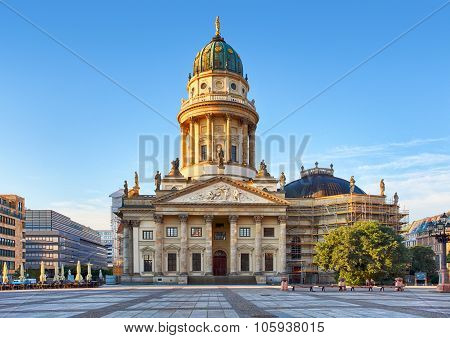 Gendarmenmarkt In Berlin, Germany. View On German Cathedral