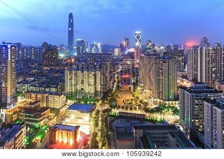 Shenzhen, China - August 19,2015: Shenzhen Skyline At Twilight With The Tallest Building Of The City