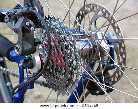 The mountain bike gears and rear Derailleur. poster