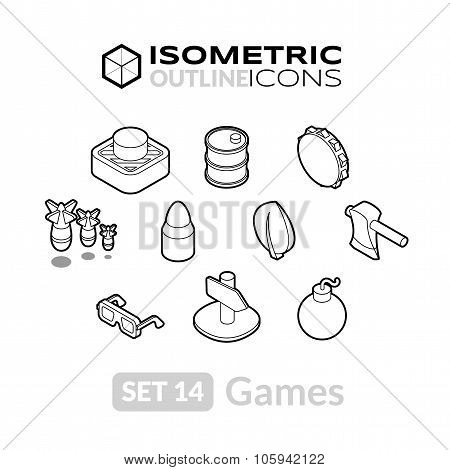 Isometric outline icons set 14