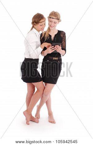 Girl Looking At Tablet Pcs