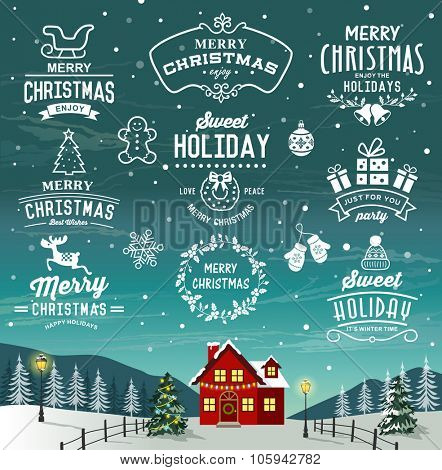 Beautiful landscape of Christmas. Christmas decoration collection of calligraphic and typograhic design with labels, logos, symbols and icons elements.
