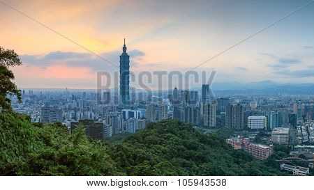 Taipei, Taiwan Skyline At Twilight