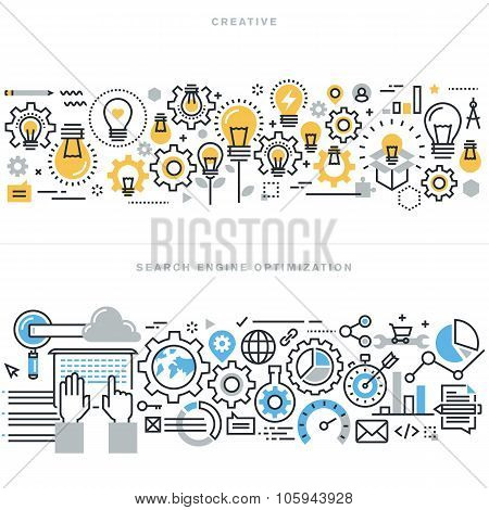 Flat line design vector illustration concepts for creative process workflow and SEO