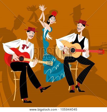Flamenco. Dancing Girl And Two Men Playing A Guitar.