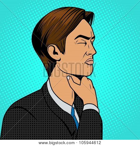 Man with sore throat pop art retro vector