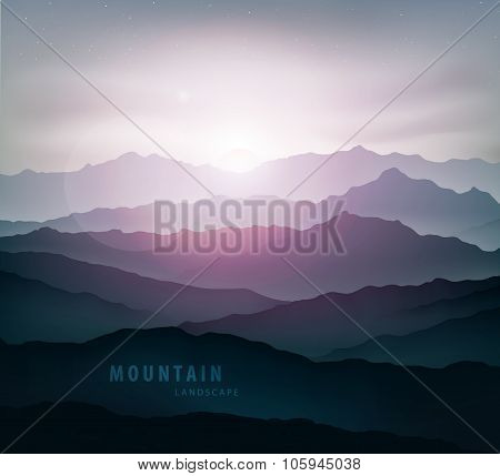 Dark Blue Mountain Landscape With Fog