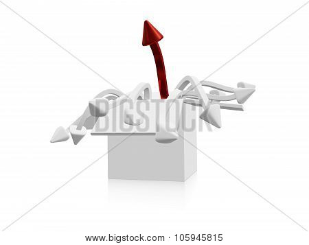 Red And White Arrows Rising From A White Box