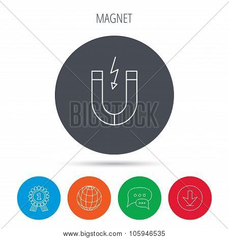 Magnet icon. Magnetic power sign. Physics symbol. Globe, download and speech bubble buttons. Winner award symbol. Vector poster