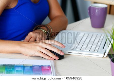 Female Designer Hands Working With Laptop Computer