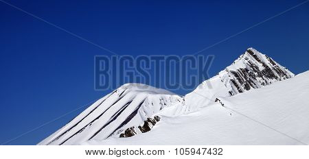 Panoramic view on off-piste and blue clear sky in nice day. Caucasus Mountains Georgia ski resort Gudauri. poster