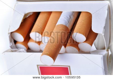 Cigarette In Pack, Close-up.