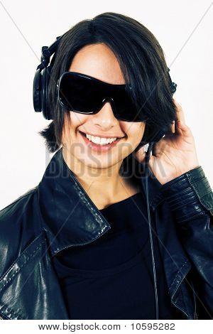 Young Smiling Girl In Headphones