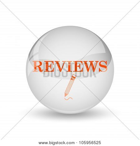 Reviews icon. Internet button on white background. poster