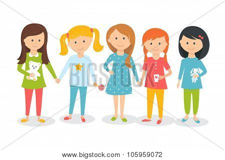 Girls Wearing Pajamas. Kids Sleepover or Slumber Party. Cartoon Style Vector Illustration