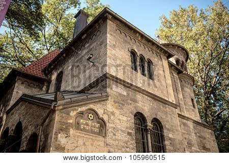 PRAGUE CZECH REPUBLIC - OCTOBER 10 2015: Former Ceremonial Hall (circa 1912 architect J. Gerstl) of Klausen Synagogue in Jewish Quarter of Prague. World Heritage site of UNESCO poster