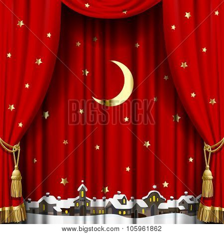 Christmas and New Year red curtain with a town skyline in snow down, gold moon and stars. Square theater and Christmas background. Artistic poster. Vector illustration