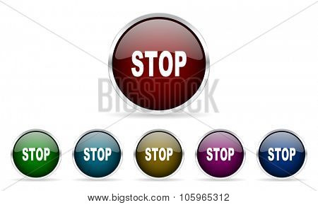stop colorful glossy circle web icons set
