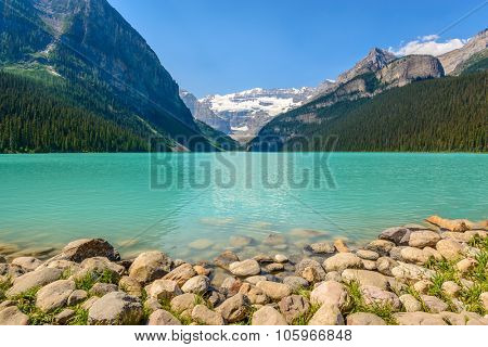 Majestic mountain lake in Canada. Louise Lake view in Banff, Alberta, Canada. Rocky Mountains.